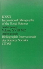 IBSS: Anthropology: 1972 Vol 18 - Book