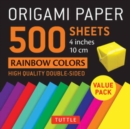 "Origami Paper 500 sheets Rainbow Colors 4"" (10 cm) : Tuttle Origami Paper: High-Quality Double-Sided Origami Sheets Printed with 12 Different Color Combinations - Book"