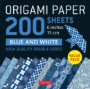 "Origami Paper 200 sheets Blue and White Patterns 6"" (15 cm) : High-Quality Double Sided Origami Sheets Printed with 12 Different Designs (Instructions for 6 Projects Included) - Book"