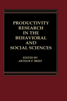 Productivity Research in the Behavioral and Social Sciences, Hardback Book