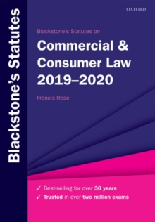 Blackstone's Statutes on Commercial & Consumer Law 2019-2020, Paperback / softback Book