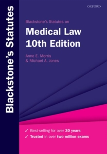 Blackstone's Statutes on Medical Law, Paperback / softback Book