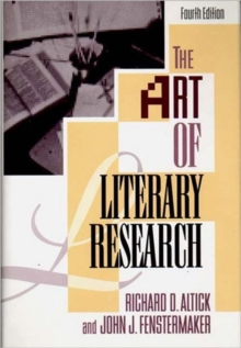 The Art of Literary Research, Hardback Book