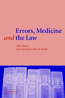 Errors, Medicine and the Law, Paperback Book