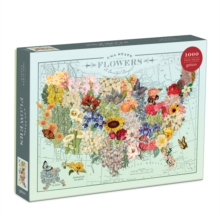 Wendy Gold USA State Flowers 1000 Piece Puzzle, Jigsaw Book