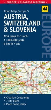 5. Austria, Switzerland & Slovenia : AA Road Map Europe, Sheet map, folded Book