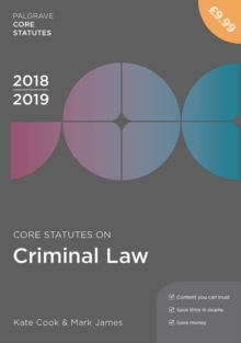 Core Statutes on Criminal Law 2018-19