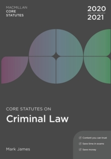 Core Statutes on Criminal Law 2020-21, Paperback / softback Book