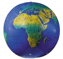 "16"" Dark Blue Topographical Inflatable Globe, Globe Book"