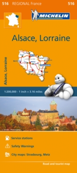 Alsace, Lorraine Map 516 : Michelin Regional Maps: France, Sheet map, folded Book